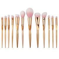 12 adet/takım rosegold makyaj fırça set kalp şekli yüz vakıf Toz Fırçalar pro göz fırçalar Kozmetik Fırçalar makyaj Araçları