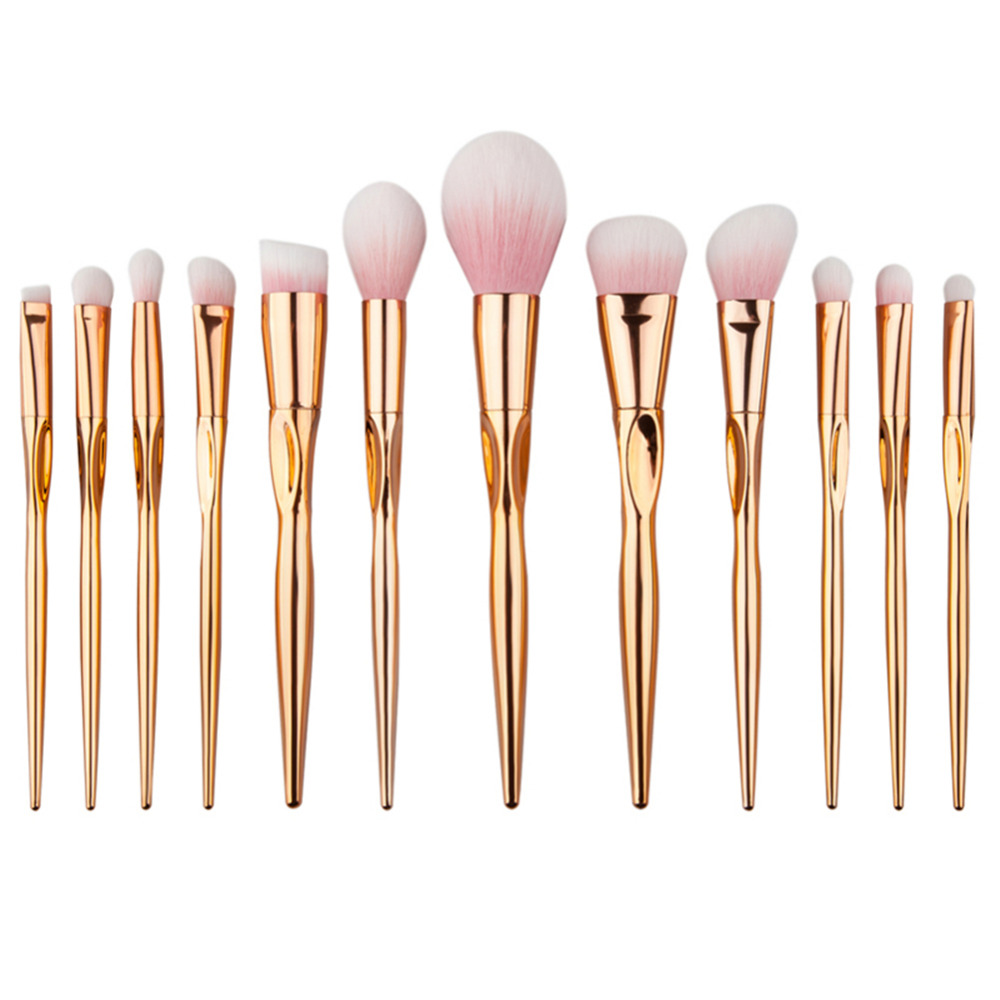 12 pcs/set rosegold makeup brush set heart shape face foundation Powder Brushes pro eye brushes Cosmetic Make up Brushes Tools heart shape brush stand brush holder