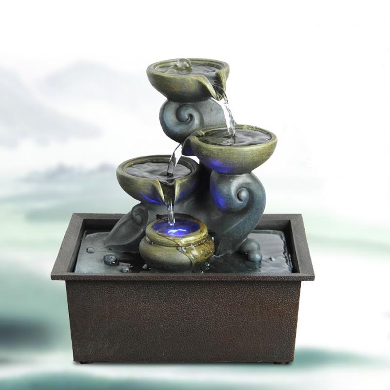 Résine créative intérieur fontaines d'eau lumière LED artisanat caractéristiques Zhaocai fontaine d'eau pour la maison chambre bureau décorations de bureau