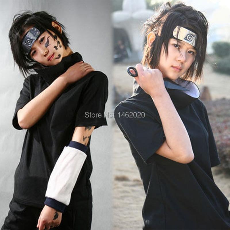 Amime Naruto Unisex Cosplay Costume Sasuke Uchiha The 2nd Generation of suit emboitement (Tops Shirt+Short Pants)