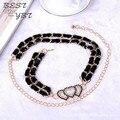 Corea moda de franela double heart rhinestone cadena de la cintura para mujer niñas moda salvaje accesorios boutique alta calidad cinturones