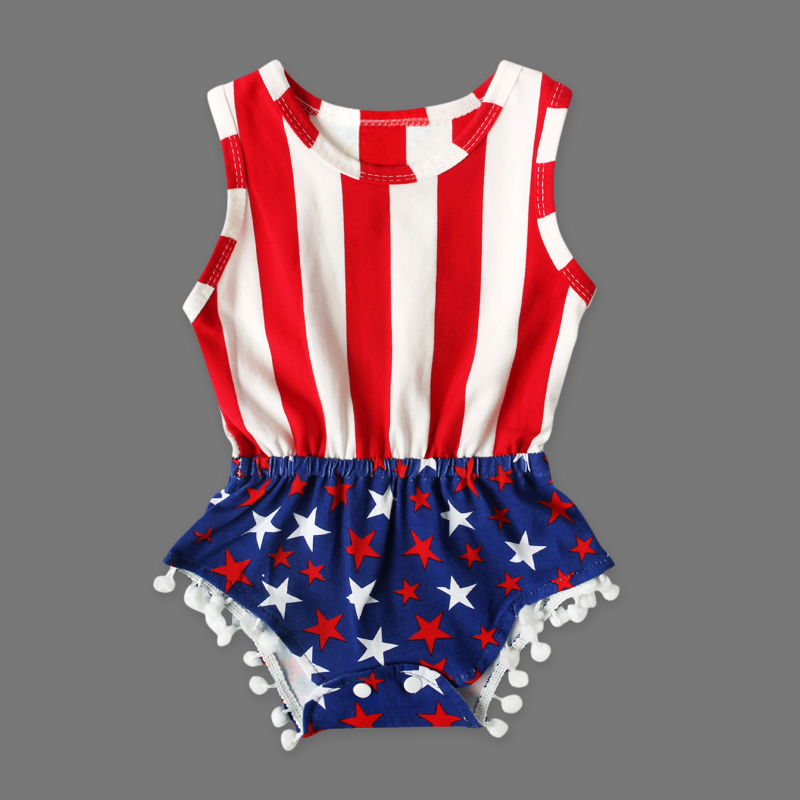 fbaf6fb4edc Baby Girl fourth of July outfits Independence Day summer Romper newborn  girl 4th of July baby July 4th outfit set star print