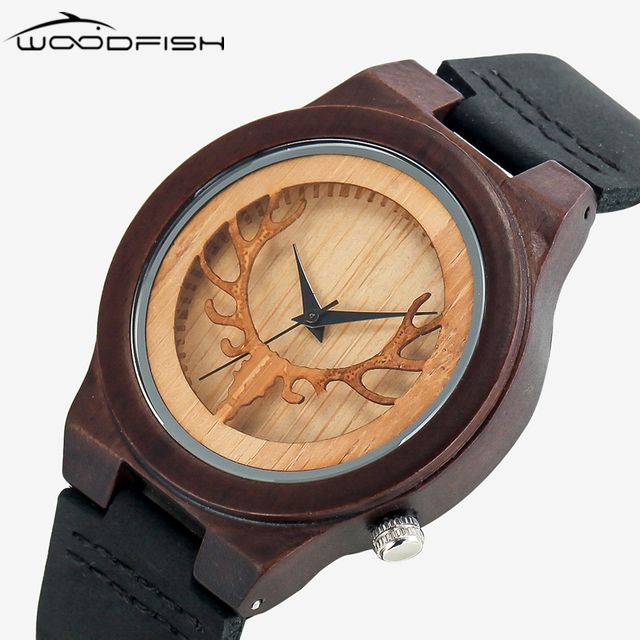 Woodfish Herren Hirschkopf Design Buck Bambus Holz Uhren Luxus Holz