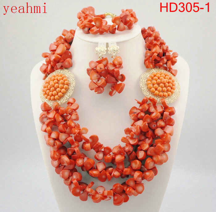 Amazing Orange African coral Beads Jewelry Set Nigerian Beads Necklace Dubai Jewelry Sets Free Shipping HD305-1Amazing Orange African coral Beads Jewelry Set Nigerian Beads Necklace Dubai Jewelry Sets Free Shipping HD305-1