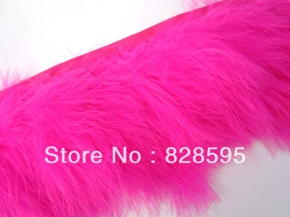 F463 PER FEET-Fuschia Turkey Marabou Hackle Fluffy Feather Fringe Trim Craft