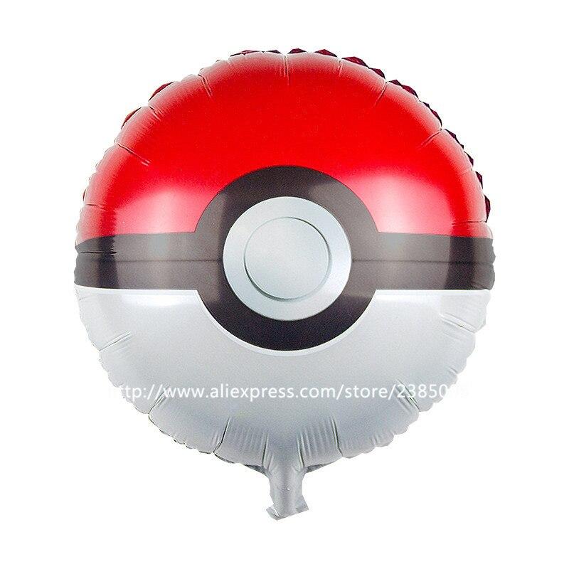 10pcs/lot Round pikachu Cute Pokemon Balloon PokeBalls Foil Helium Balloons Birt