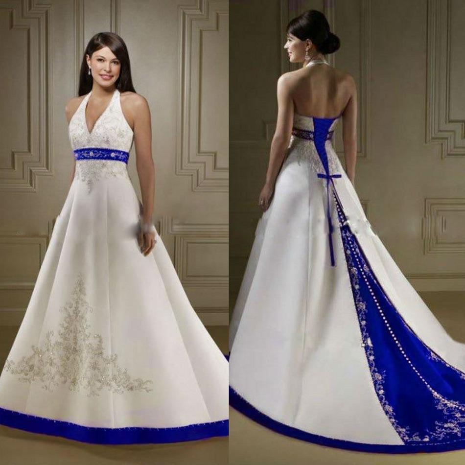 Ivory and Royal Blue A Line Wedding Dress with Court Train 2016 Halter Neck Open Back Lace Up Bridal Gowns Wedding Dresses