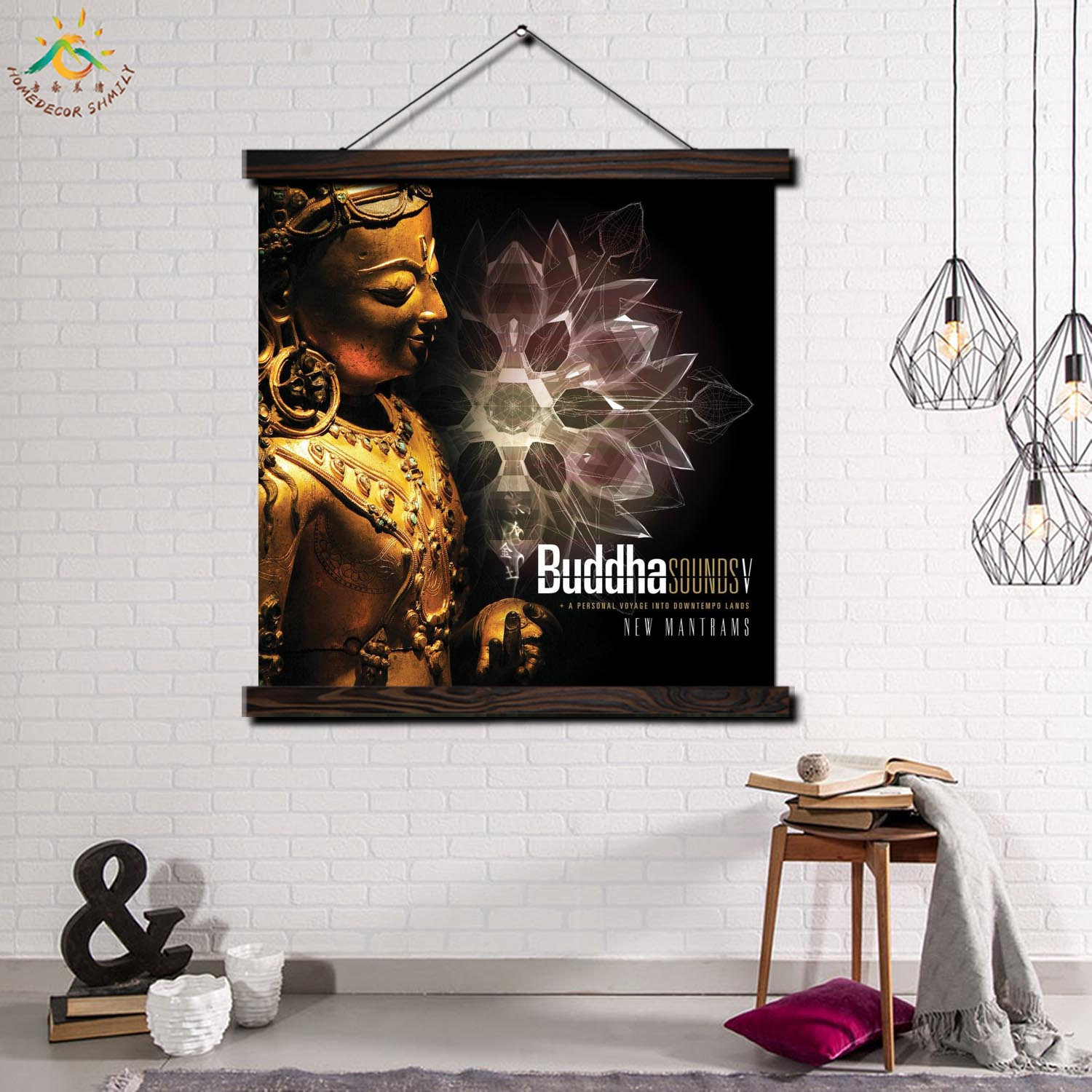 Tradition Buddha Single Modern Wall Art Print Pop Picture And Poster Solid Wood Hanging Scroll Canvas Painting Home Decor