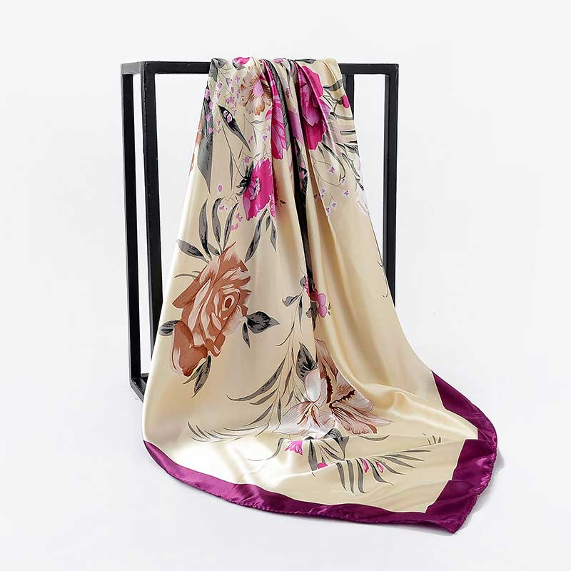 Women Scarf Flower Printed Square Head Scarves Autumn ...