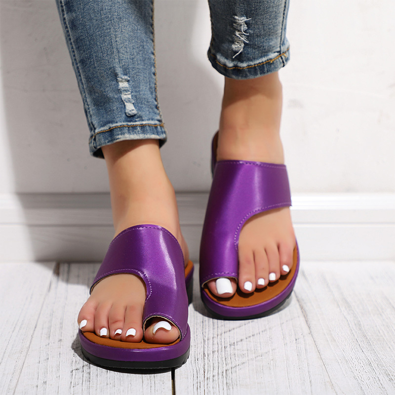 HTB1fMrHav1H3KVjSZFHq6zKppXaj MCCKLE Women Comfy Plain Shoes Flat Platform Ladies Casual Big Toe Foot Correction Sandals Orthopedic Bunion Corrector Flip Flop