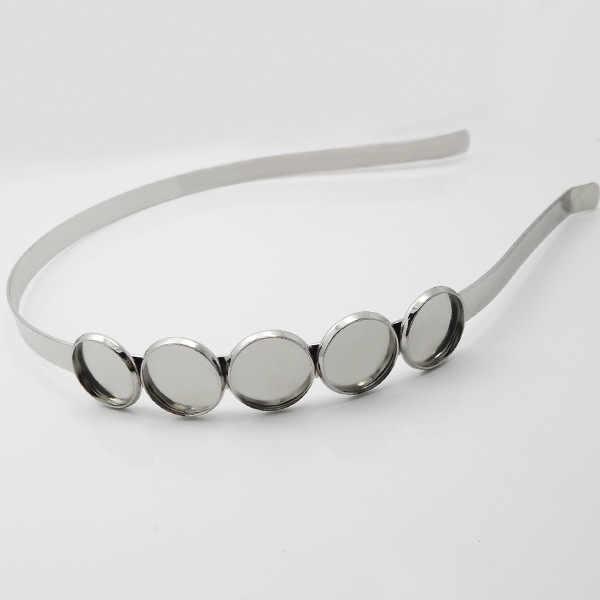Tiaras diademas componentes Bases en blanco 12mm 14mm redondo Bezels bandejas cabujones de cristal de resina joyería para el cabello accesorios DIY