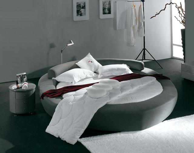 Contemporáneo moderno tela de terciopelo gris muebles de dormitorio cama redonda Hecha en China