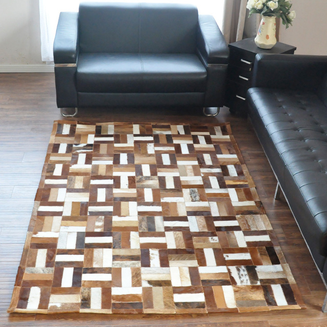 Free Shipping 1 Piece 100 Natural Handmade Cow Leather Hand Woven India Wool Rug