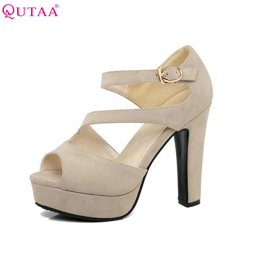 QUTAA 2018 Women Pumps Summer Ankle Strap Ladies Shoe Sexy Square High Heel Peep Toe PU Leather Woman Wedding Shoes Size 34-43 vinlle 2018 woman pumps thick high heel sexy peep toe black gladiator summer women shoes zipper wedding dating shoes size 34 43
