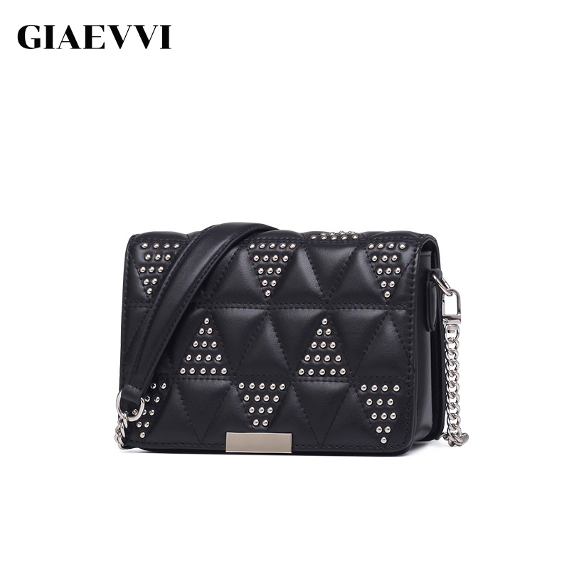 GIAEVVI Women Leather Shoulder Bag Rivet Designer Chain Handbag Small Messenger Bags Cowhide Purse Crossbody for Lady Clutch giaevvi women leather handbag small flap clutch genuine leather shoulder bag diamond lattice for grils chain crossbody bags