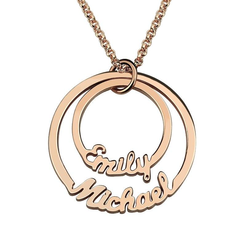 AILIN personnalisé 2 noms collier maman couches cercle collier Couples collier nom bijoux cadeau pour sa couleur or Rose