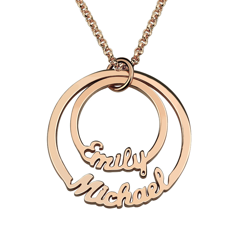 Personalized 2 Names font b Necklace b font Mom font b Necklace b font Layered Circle