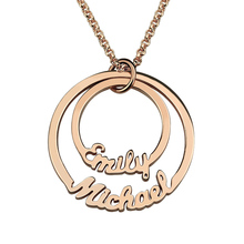 Personalized 2 Names Necklace Mom Necklace Layered Circle necklace Couples Necklace Name Jewelry Gift for Her Rose Gold Color