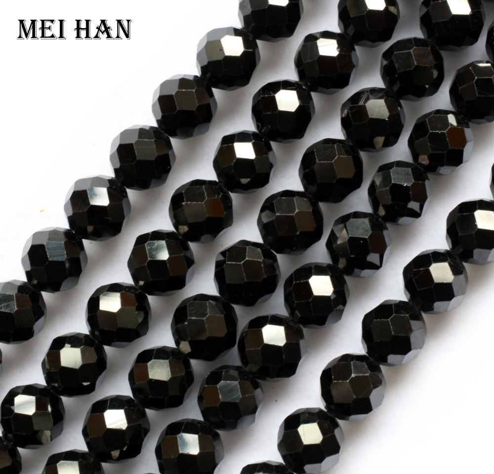 Meihan natural black spinell 7 5 8mm faceted round loose beads for jewelry making design DIY