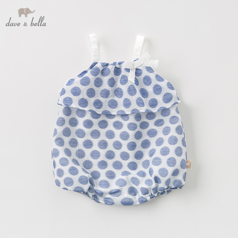 DB10234 Dave bella new born baby girls fashion  jumpsuits cute dots bow infant toddler clothes children summer romper 1 pieceDB10234 Dave bella new born baby girls fashion  jumpsuits cute dots bow infant toddler clothes children summer romper 1 piece