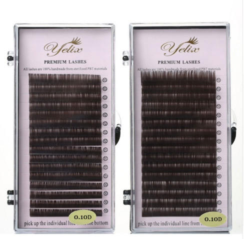 0.07/0.1 Mix Tray Dark and Light Brown False Eyelashes Individual Mink Lashes Colored Natural Fake Eyelash Extension Highly Soft