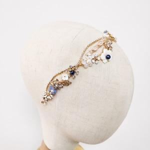 Image 2 - Blue Flower Bridal Headband Handmade Crystal Wedding Headpiece Prom Hair Jewelry 2019