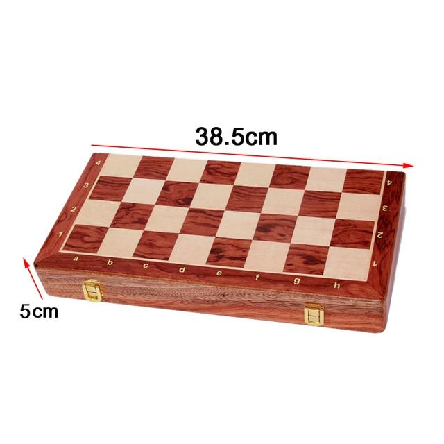 Jeu d'échecs pliant en bois de noyer, de qualité supérieure, produit manuel, pièces en bois massif pour enfants, divertissement, cadeau, jeu de société 2