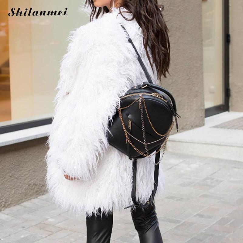 Plus Size Women White Artificial Fur Coat Winter 2018 Casual Solid Warm Faux Fur Coat Fluffy Female Long Sleeve Outwear 4xl 3xl in Faux Fur from Women 39 s Clothing