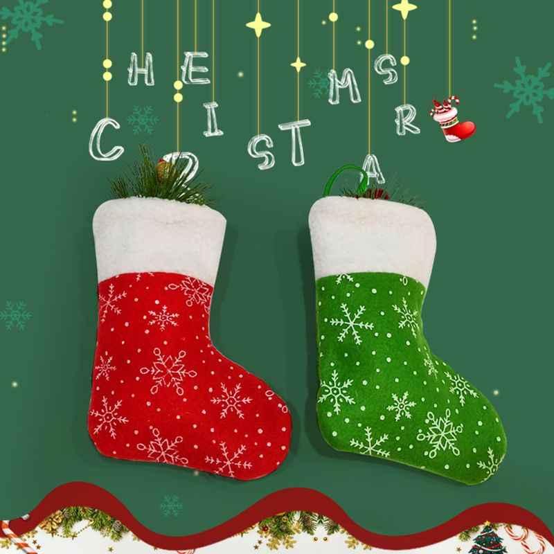 2019 новые рождественские чулки мини-носок Рождественская елка Конфеты Подарочная сумка Снежинка подвесной кулон декоративное украшение для дома