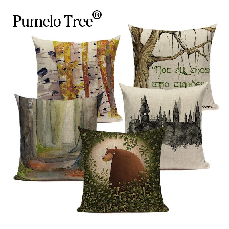 animal throw pillows Green 45*45 cushions decorative Custom cover cushion rainforest home cushions Dropshipping