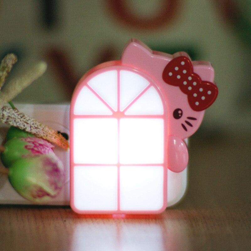 Novelty Cute Cat LED Kids Night Lights Mini Light Sensor Plug in Lamp For Children Baby Bedroom Nursing Bedside Aisle Lighting