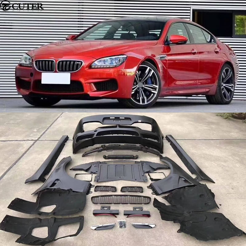 F06 F12 F13 M6 style fiber glass front bumper Rear bumper side skirts fenders For BMW F06 F12 F13 M6 body kit 12 16 in Body Kits from Automobiles Motorcycles