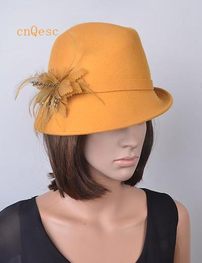 100% Damen Derby Hüte Wollfilz Frauen Hut Für Winter Kirche Derby. Orange Schwarz Grau Beige Gelb, Lila Braun Rot Silber Gut Verkaufen Auf Der Ganzen Welt