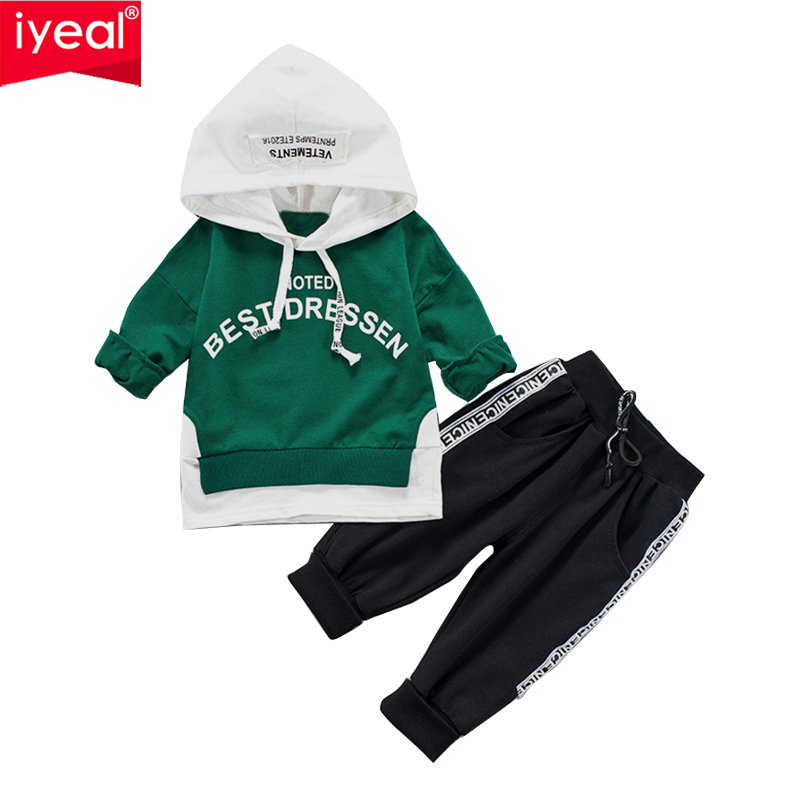 IYEAL Kid Baby Boys Clothes Spring Fall Sports Suit Clothing For Girls Child 2PCS Casual Long Sleeve Hoodies + Pants Outfit 1-4Y duoronmi 2017 new spring baby boys girls thin velvet clothes suit hoodies pants 2pcs set child kids casual clothing suits