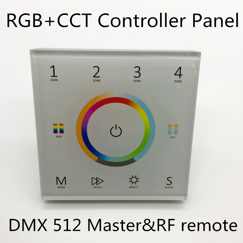 RGB+CCT controller Panel 4Zone 1 5color in one galss touch panel color wheel Ac inut DMX512 and RF2.4g singal panel control T15-in RGB Controlers from Lights & Lighting    1