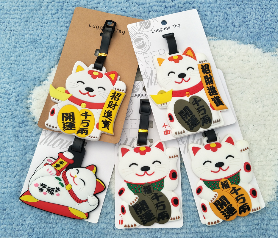 IVYYE Lucky Cat Anime Travel Accessories Luggage Tag Suitcase ID Address Portable Tags Holder Baggage Labels New