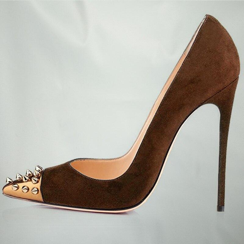 Pour 2018 Fsj Bout Zapatos Mince Fsj01 D'or Haute Pointu Soirée 12 Femmes Clouté Suede fsj02 Brun Cm Rivets Chaussures Talons De Mujer aaUvqrd