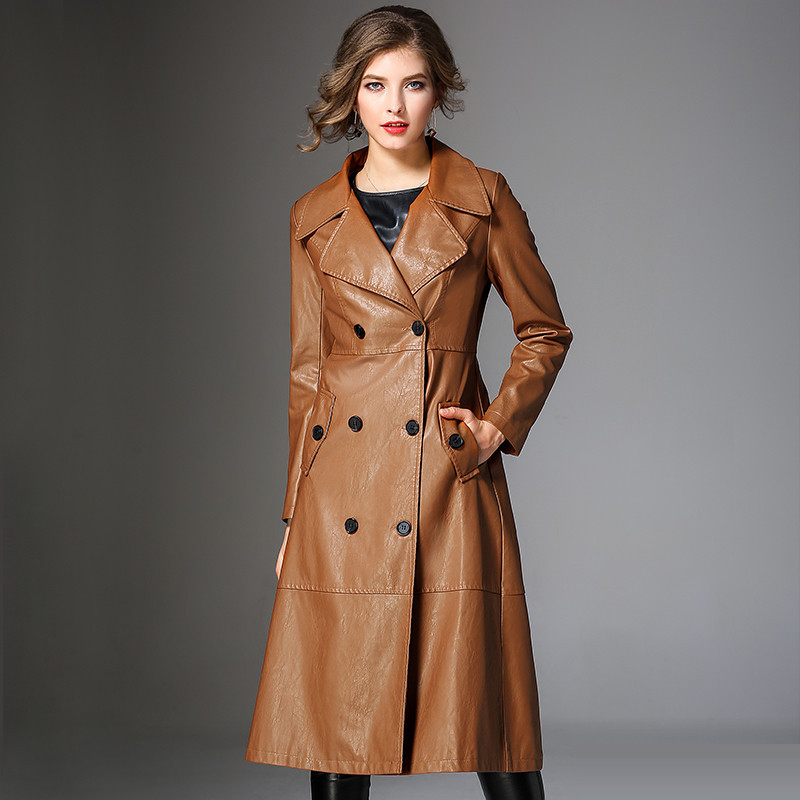 Autumn Winter Leather Trench Coat Slim Female Long Coats PU Outerwear Long Leather Trench Coat Women 2018 New Plus Size M 3XL