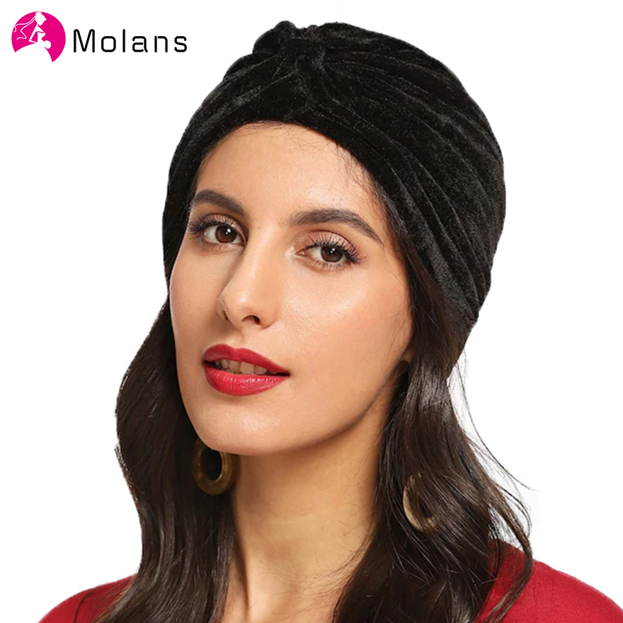 MOLANS Soft Pleuche Solid Hairbands Fashion Elastic Turban Cap Autumn Winter Headbands New Velvet Cross Knotted Women Headpieces