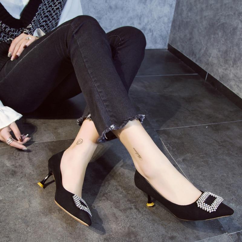 Unie Profonde Bouche Mode Nouvelle Femmes noir Hauts Décoratives Strass rose Beige Chaussures Talons Printemps Pointu bleu 2019 Suede Simple Couleur Peu BwX1pOq