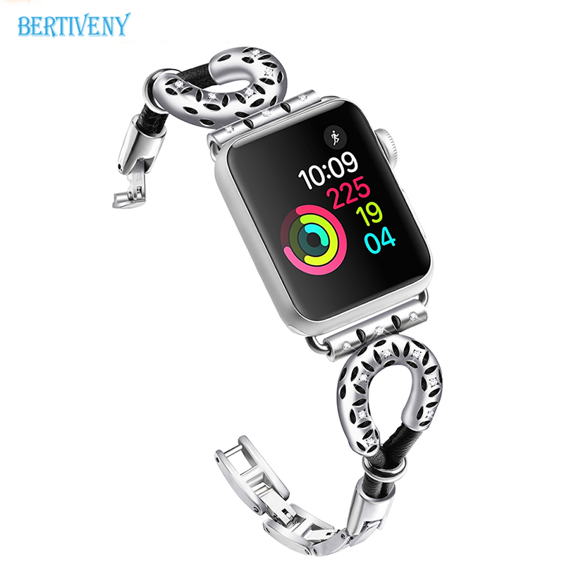 Fashion link bracelet for apple watch band 38mm,women metal Creative strap Replacement wrist band for iwatch series 3 2 1 luxury ladies watch strap for apple watch series 1 2 3 wrist band hand made by crystal bracelet for apple watch series iwatch