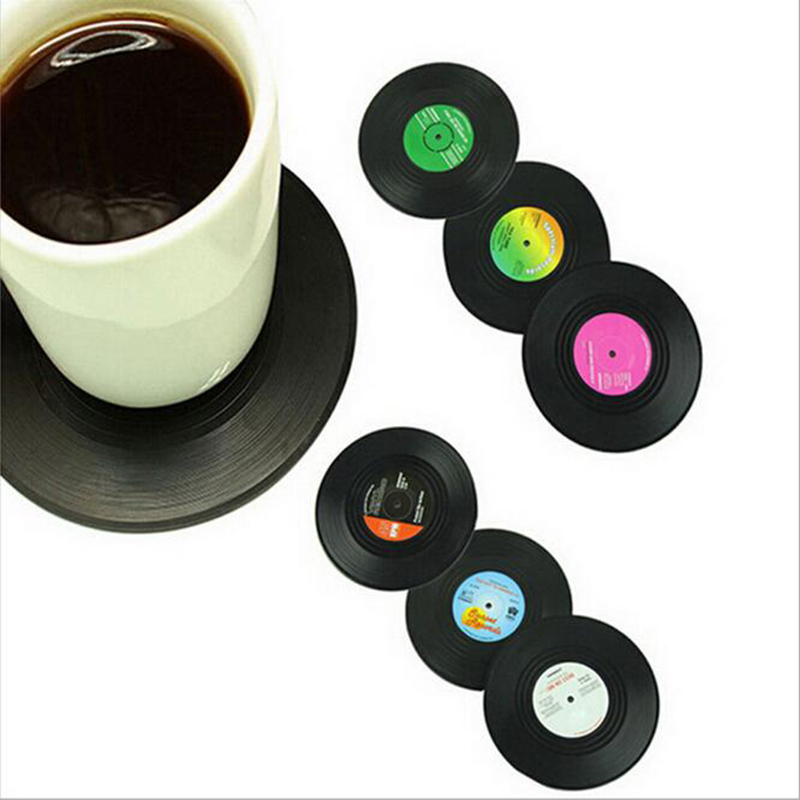 <font><b>6</b></font> Pcs/ <font><b>set</b></font> New Arrival Home Table <font><b>Cup</b></font> Mat <font><b>Creative</b></font> Decor Coffee Drink <font><b>Placemat</b></font> Retro Vinyl CD Record Drinks <font><b>Coasters</b></font> B5