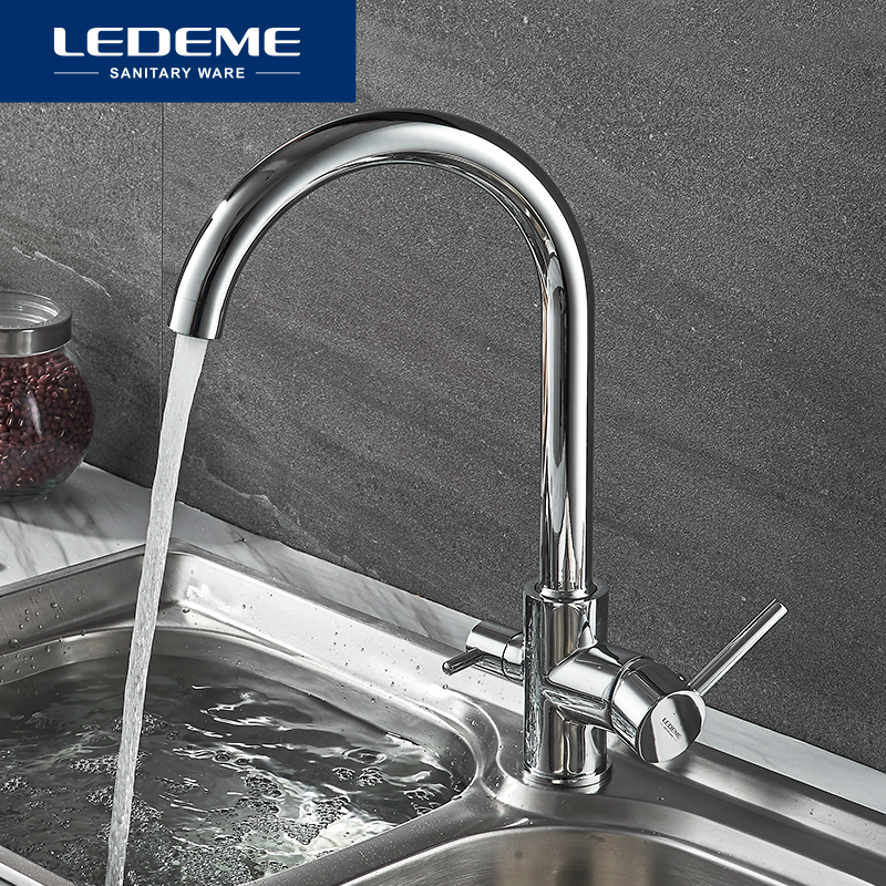 LEDEME Kitchen Sink Water Faucet Curved Spout Mixer Tap Hot and Cold Single Handle Tap Water