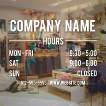 Store Hours Sign - Business Vinyl Decal Of Operation Sticker Personalized Company Name Glass Door Waterproof BH02