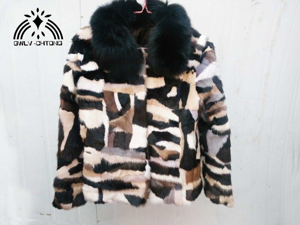 Veste Renard Gilets Naturel Manteau De Fourrure Véritable Réel Multi D'hiver Avec Vison Pleine Col couleur Femmes Couleur aT6wBTq50