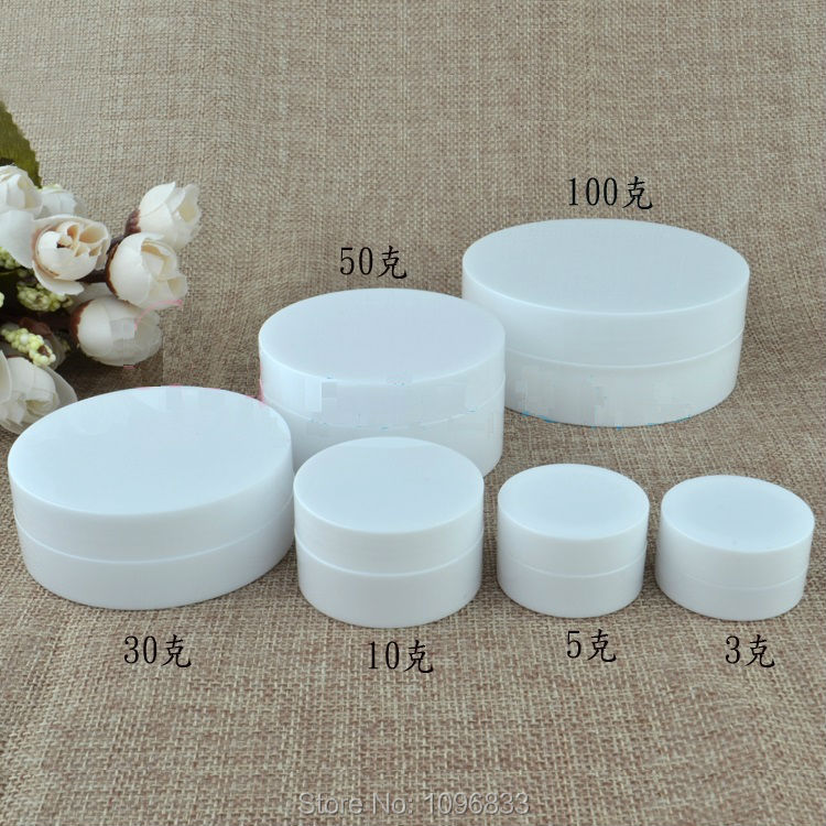 30G 30ML White Plastic Jar with Concave Bottom, Cosmetic Cream Case, - Skin Care Tool