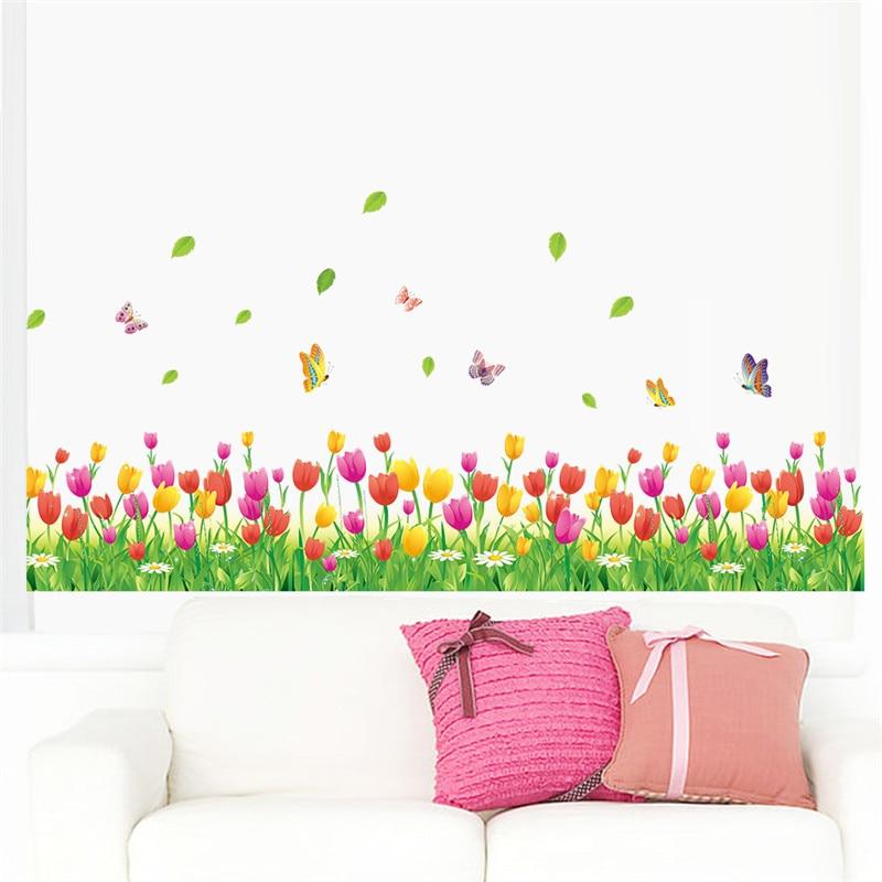 Wonderful Garden Tulip Flower Butterfly 3d Wall Stickers DIY Wall Decal Home Decor Living Room Bedroom Window Baseboard