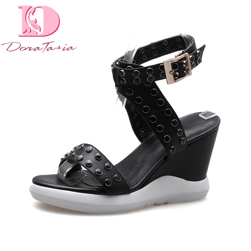 DoraTasia New women's Genuine Leather Ankle Strap Solid Wedges Rivet Platform Shoes Woman Casual Comfortable Summer Sandals xiuningyan women sandals 2018 new fashion casual shoes comfortable wedges sandals platform genuine leather woman summer shoes