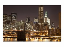 1 Panel Free Shipping Bridge Night View Modern Landscape Artwork Canvas Prints Abstract Paintings on Wall Art Framed