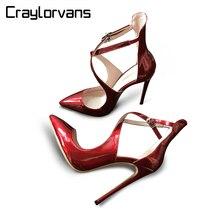 Craylorvans Высочайшее Качество Летние Кросс-привязанные Женщины Тонкие Высокие Каблуки Сексуальные Лакированной Кожи Супер Высокие Ню Черный Женская обувь